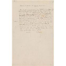 Louis Pasteur Autograph Manuscript Signed