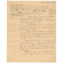Louis Pasteur Autograph Notes Signed
