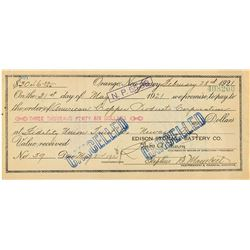 Thomas Edison Document Signed