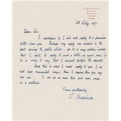 James Chadwick Autograph Letter Signed