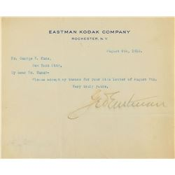 George Eastman Typed Letter Signed