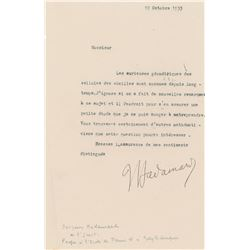 Jacques Hadamard Typed Letter Signed