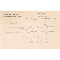 Ernest Jones Autograph Letter Signed