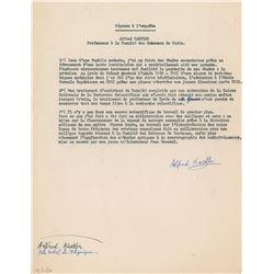 Alfred Kastler Typed Letter Signed