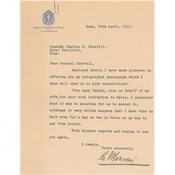 Guglielmo Marconi Typed Letter Signed