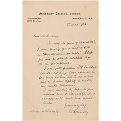 William Ramsay Autograph Letter Signed