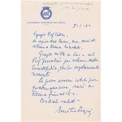 Emilio Segre Autograph Letter Signed