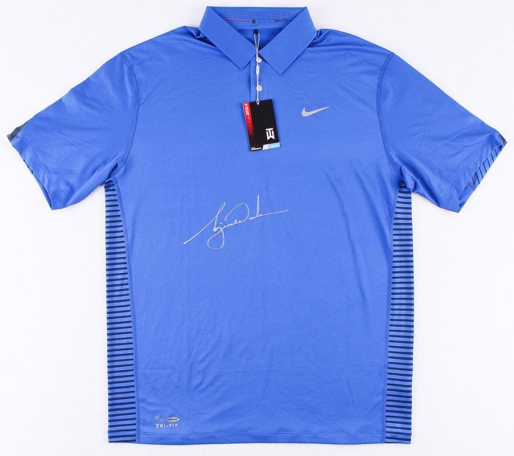 14076f5f Image 1 : Tiger Woods Signed LE Blue Nike Golf Shirt (UDA COA)