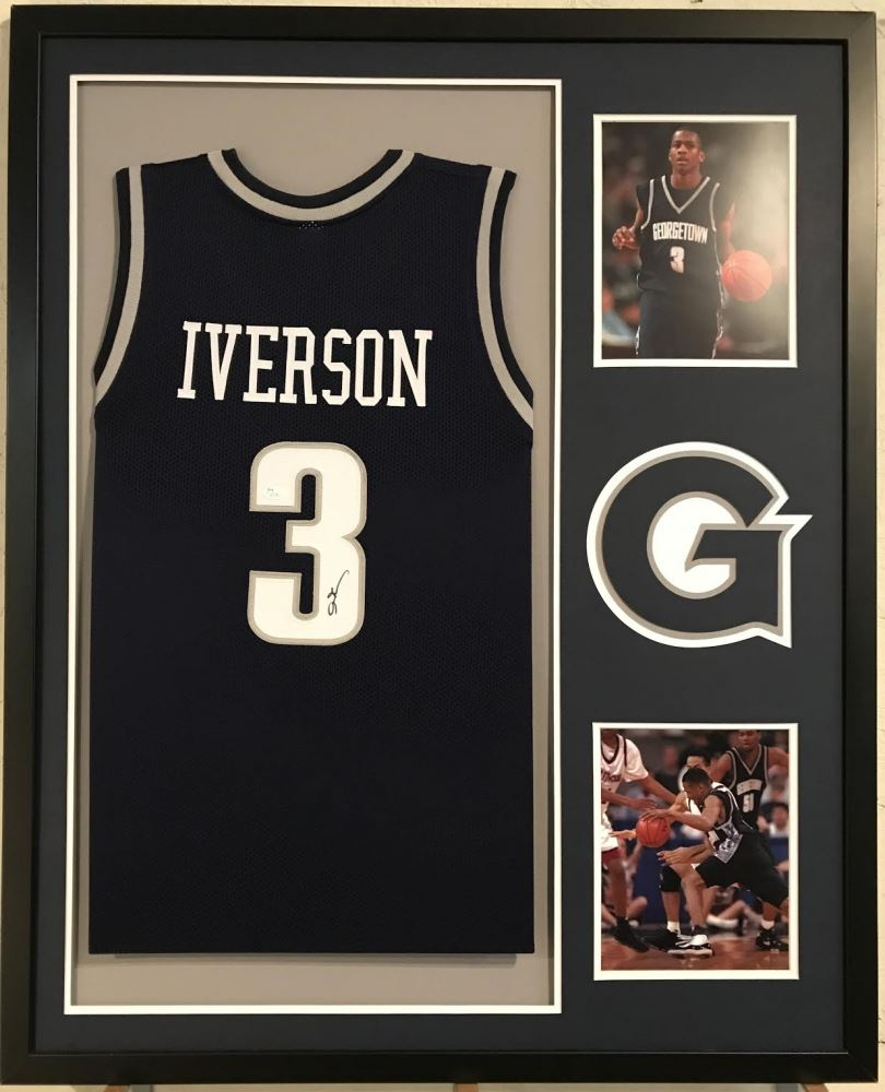 reputable site bc66a d7574 Allen Iverson Signed Georgetown Hoyas 34x42 Custom ...