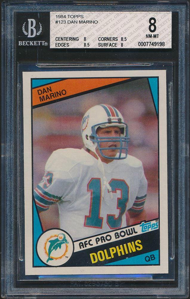 new product cb4fb e926c 1984 Topps #123 Dan Marino Pro Bowl RC (BGS 8)