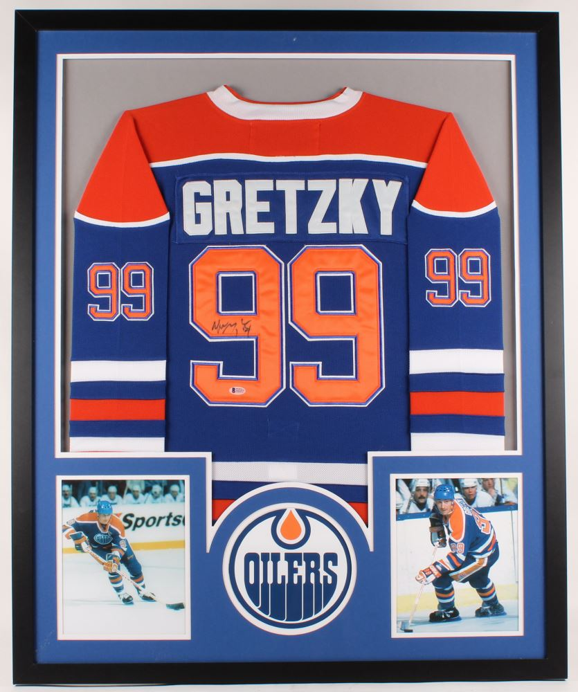 new product 49ac3 26a26 Wayne Gretzky Signed Oilers 34x42 Custom Framed Jersey ...