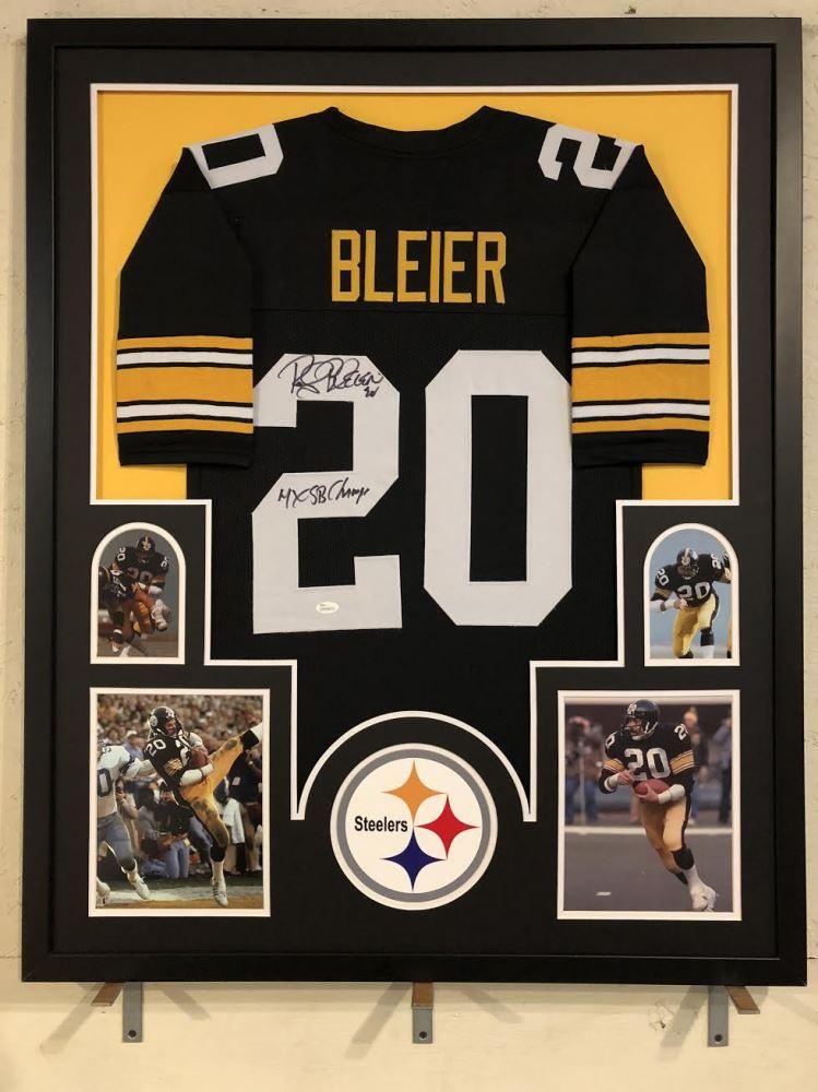 4de706d48 Image 1   Rocky Bleier Signed Steelers 34x42 Custom Framed Jersey Inscribed