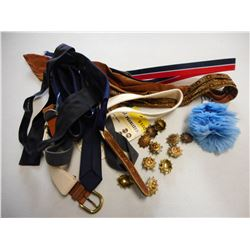 ASSORTED BOWTIES, TIES, BELTS AND PINS