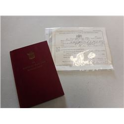 THE PRINCESS OF WALES' OWN REGIMENT (M.G.) BOOK AND SOLDIER DISCHARGE CERTIFICATE