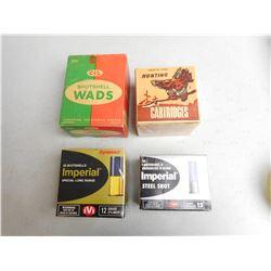 ASSORTED EMPTY SHOTGUN AMMO BOXES & WADDING
