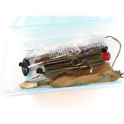 ASSORTED CLEANING ACCESSORIES & AMMO TIN