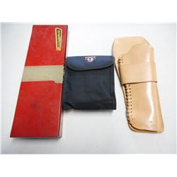 ASSORTED CLEANING EQUIPMENT & LEATHER HOLSTER