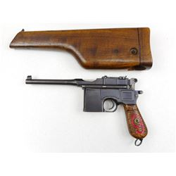 MAUSER , MODEL: C96 BROOMHANDLE RED 9 DATED1920 , CALIBER: 9MM LUGER