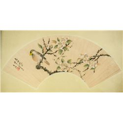 WANG LI Chinese 1813-1879 Watercolour Fan Painting