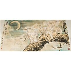 GAO JIANFU Chinese Watercolor Painting of Eagles