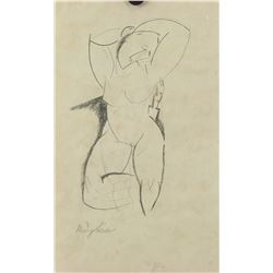 Italian Graphite Nude Lady Signed Modigliani