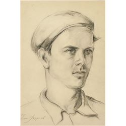 Russian Pencil Portrait Signed Leon Gaspard