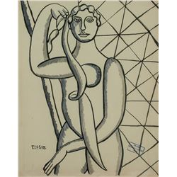 French Ink Cubist Woman Signed F. Leger