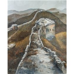 TIAN YI Oil Painting of Great Wall Signed  09.8