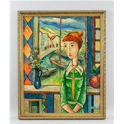 Cuban Oil on Canvas Portrait Signed Mijares