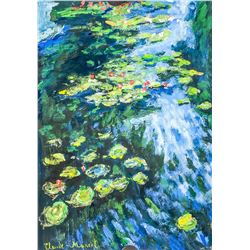 French Tempera & Oil on Paper Signed Claude Monet