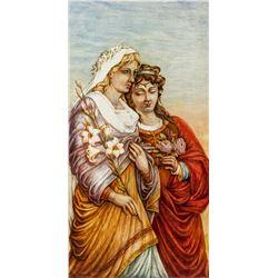 R. LAMAR Oil on Board 18th Century Framed Women