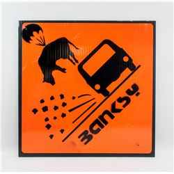 British Square Sign Pig Parachute Signed Banksy