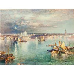Lithograph Print Thomas Moran Landscape Dated 1898