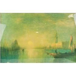 Signed Lithograph Seascape Scene Framed