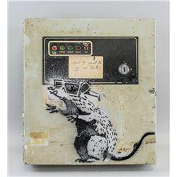 3D Rat Stencil Metal Fuse Box Spray Painted Bansky