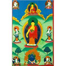Nepalese Tanka Painting on Textile