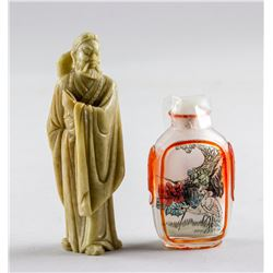 Chinese Snuff Bottle and Hardstone Monk Statue