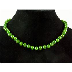 Chinese Green Jade Carved Round Bead Necklace