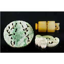 3 Assorted Chinese Jade and Jadeite Carved Pendant