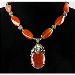 Agate Carved Oval Beads Necklace