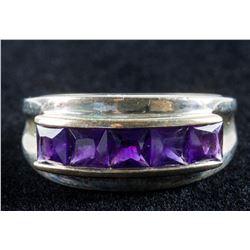 Vintage 925 Sterling Silver Amethyst Ring Size 9
