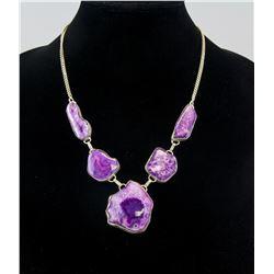 Silver Ammolite Stone Necklace