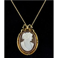 Victorian 14k Yellow Gold Cameo Necklace CRV $800