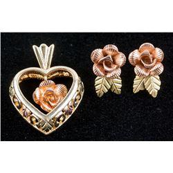 10k Gold Bill Hills Earring & Pendant Set