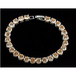 23ct Morganite Silver Tennis Bracelet
