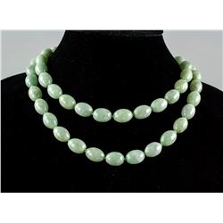 Burma Green Jadeite and Sterling Silver Necklace