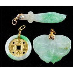 3 Assorted Burma Green Jadeite Carved Pendants