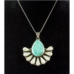 Large Turquoise & White Stone Necklace