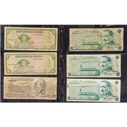 6 Assorted Guatemalan and Nicaraguan Banknotes