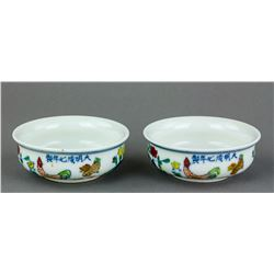 Pair Chinese Doucai Porcelain Cups Rooster Marks